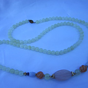 Chinese Trade Beads Necklace 38""