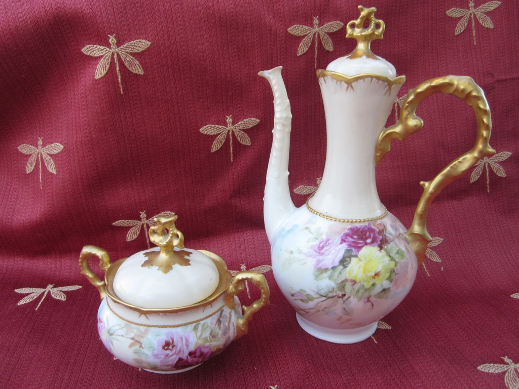 Hand Painted Roses  Coffee Pot & Sugar