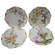 Antique Limoges Flowers Plates 4 Pc Set