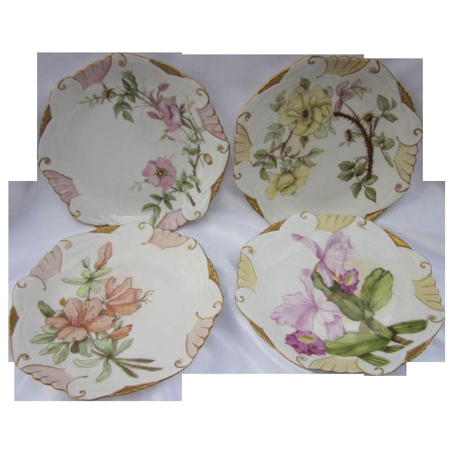 Antique Limoges Flowers Plates 4 Pc Set