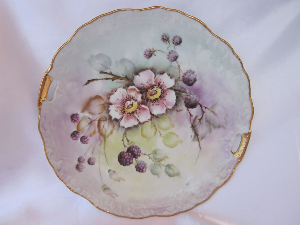 Hand Painted Berries & Blossoms Plate