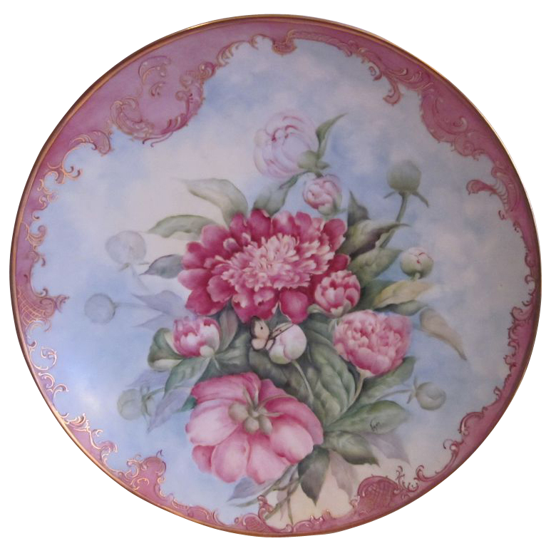 Signed Hand Painted  Flowers Heinrich Plaque 13.5""