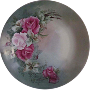 "Hand Painted Roses Plate 12"" Signed"