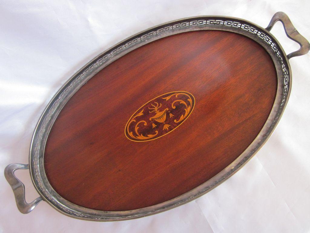 Vintage Wilcox Silverplate Mahogany Tray