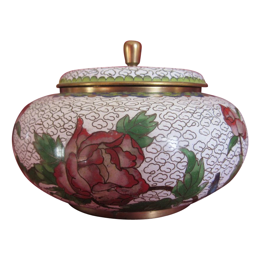 Vintage Cloisonne Covered Jar