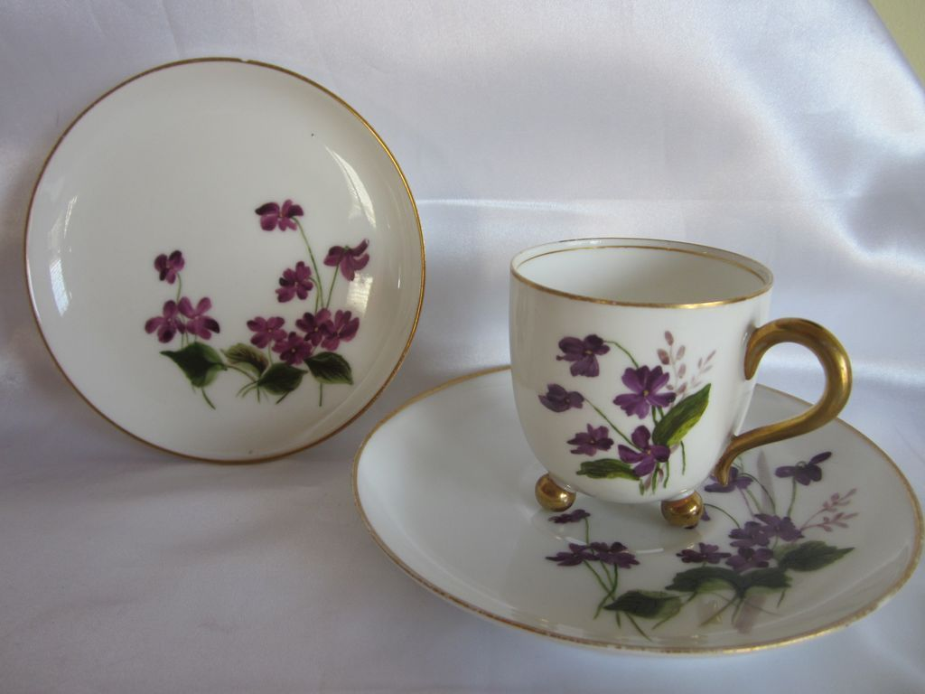 1880's Limoges  Haviland & Co Violets Cup , Saucer & Dish