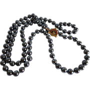 Carol Lee Faux Black Pearls Necklace 36""