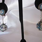 Vintage Enamel  Earring Set