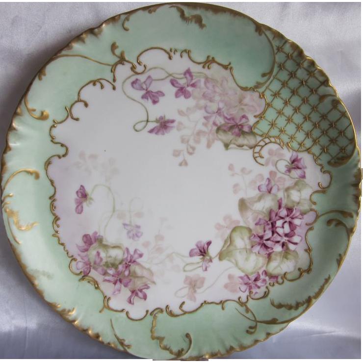 "1890'S Limoges Hand Painted  Violets 12.25"" Platter"