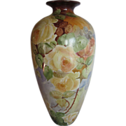 Huge Hand Painted Willets Belleeek Yellow Roses Vase