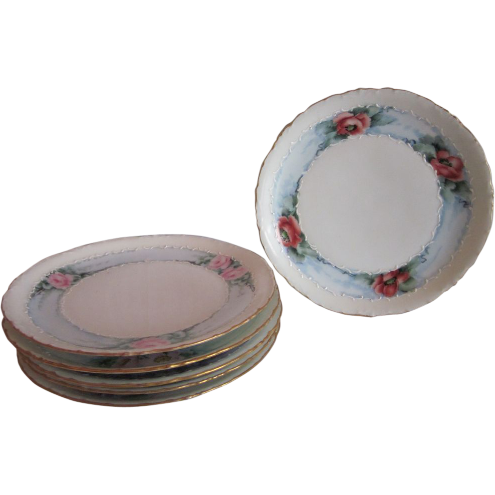 Hand Painted  Flowers Bavaria Plates 6 PC Set