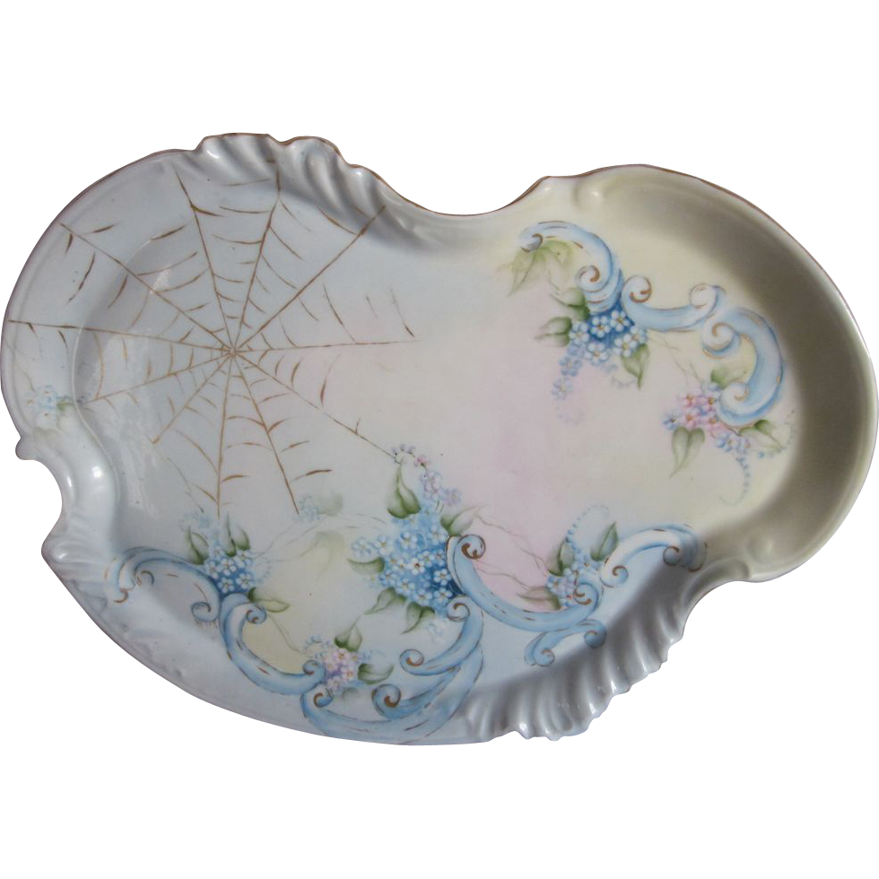 Hand Painted Forget Me Not Limoges Tray
