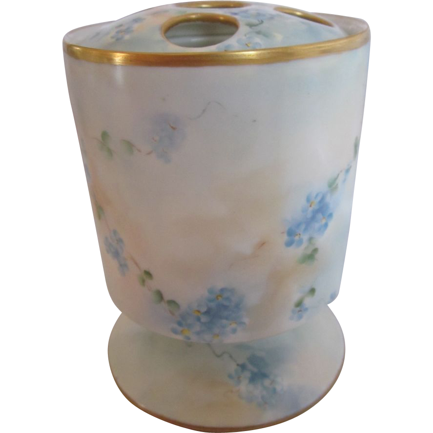 Rare Hand Painted Forget Me Not Brush Pot