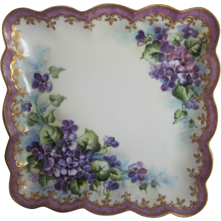 Old J. P. Limoges Hand Painted Violets Tray