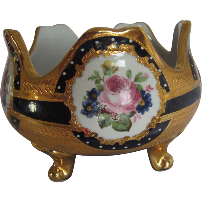 Cobalt & Gold Pink Roses Footed Bowl
