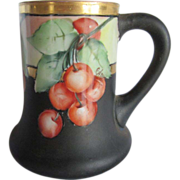 Old Hand Painted Cherries Tankard Signed