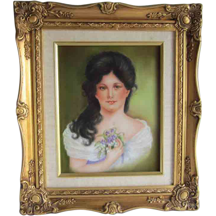 Hand Painted Portrait Tile Signed