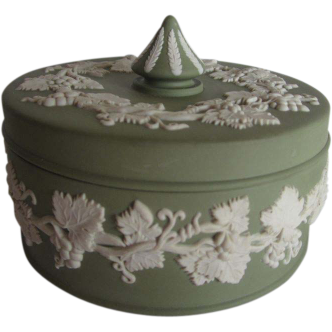 Vintage Wedgwood Green Jasperware Box