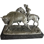 1971 Worcester Pewter Buffalo  Hunt  Signed