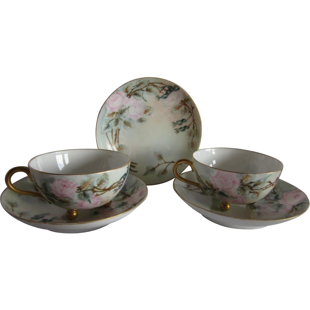 Limoges Hand Painted Roses Cups & Saucers