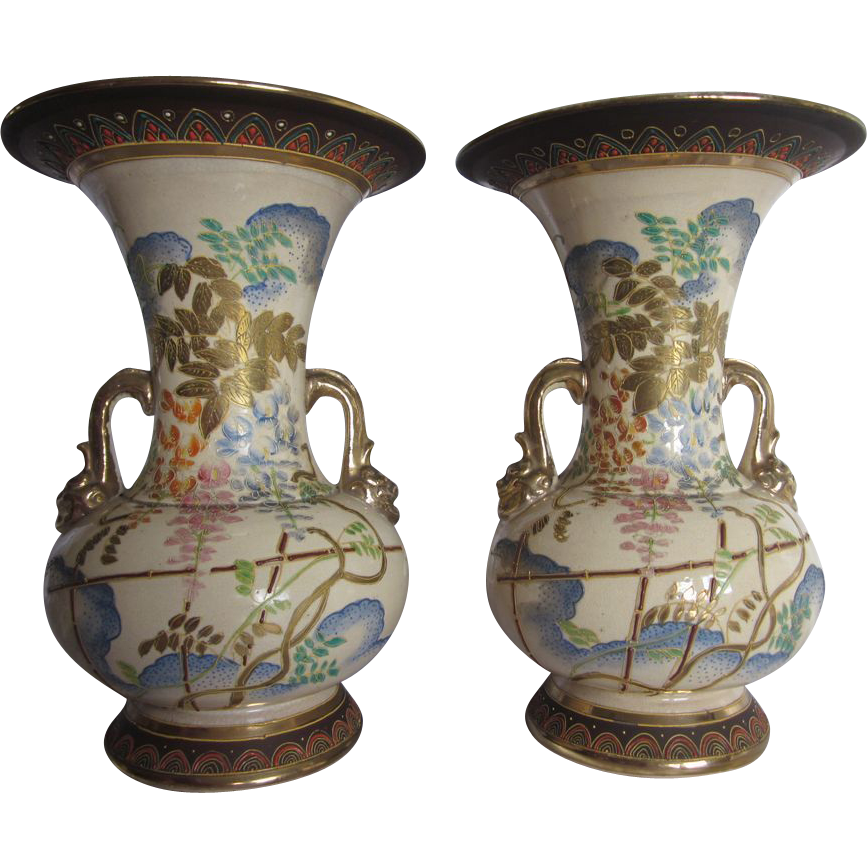 "Signed Japanese Moriage Vases 9.5"""