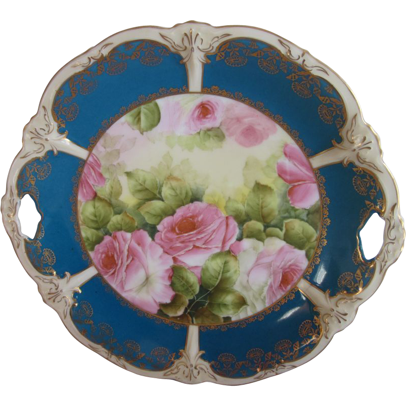 Old Germany Pink Roses Cake Plate