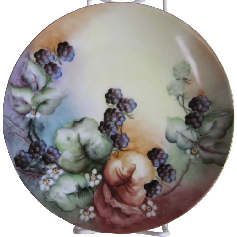 "Bavaria Hand Painted Berries Plate 8.5"""