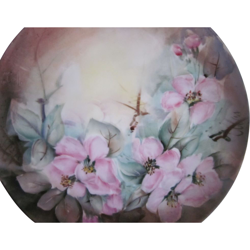 Hand Painted Wild Roses Bavaria Plate