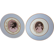 Two Antique Photograph Porcelain Plates