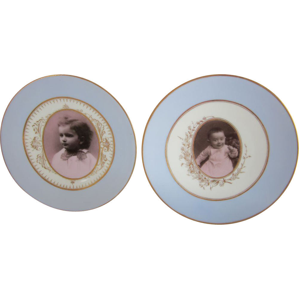 Two Antique Photograph Porcelain Plates