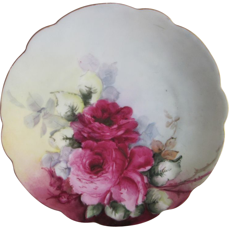 Old Hand Painted Red Roses Plate 8.5""