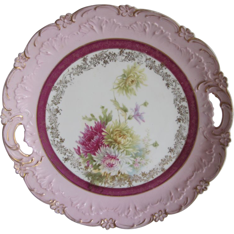 Ornate Old  Flowers Cake Plate  9.75""