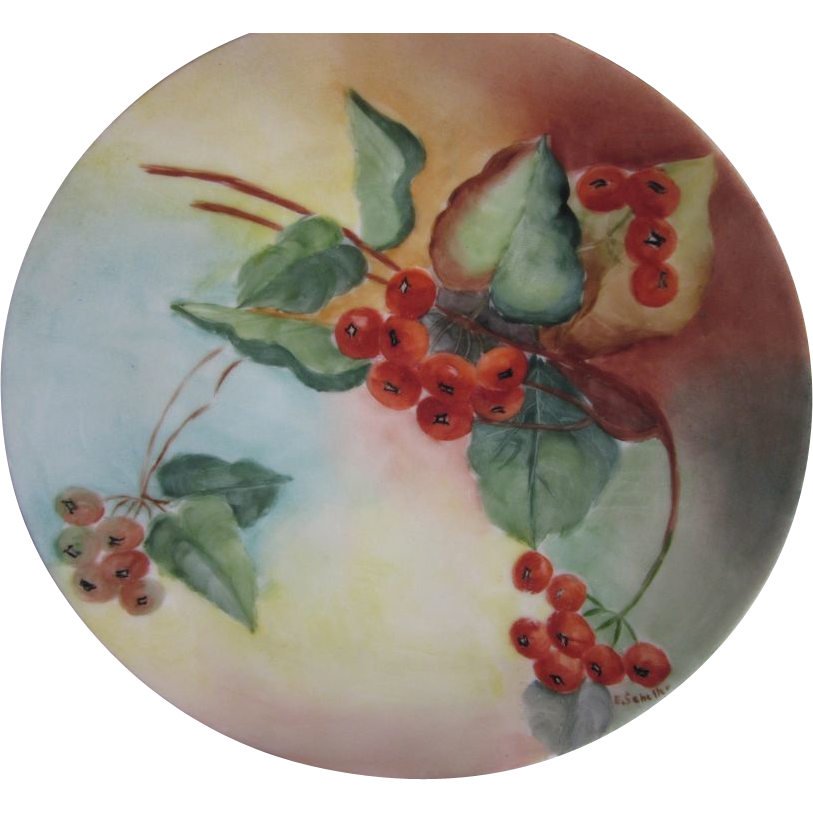 Four Old Hand Painted Small Plates