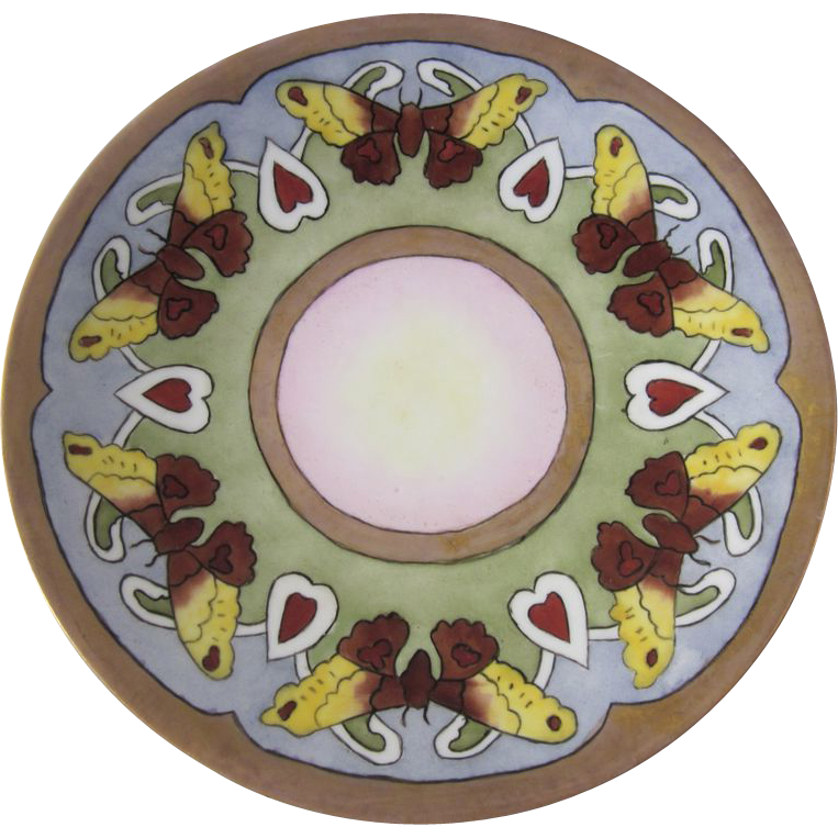 Art Nouveau Butterfly Limoges Hand Painted Plate