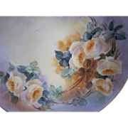 Old Hand Painted Limoges Yellow Roses Plate