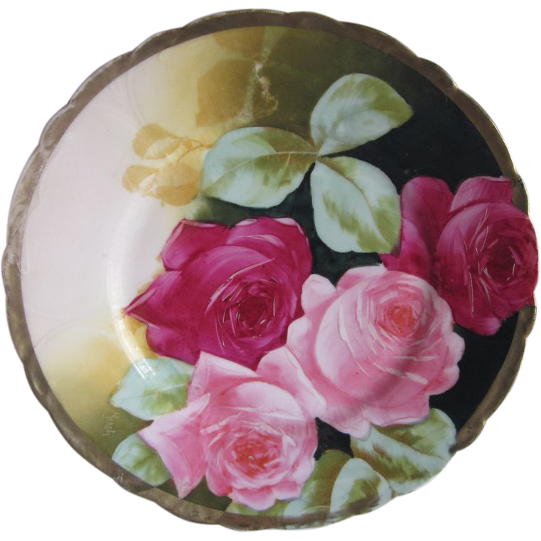 German Red & Pink Roses Plate