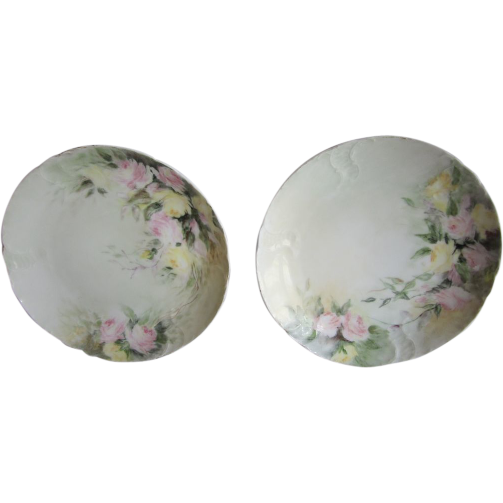 Hand Painted Roses Tilly Bavaria Plates