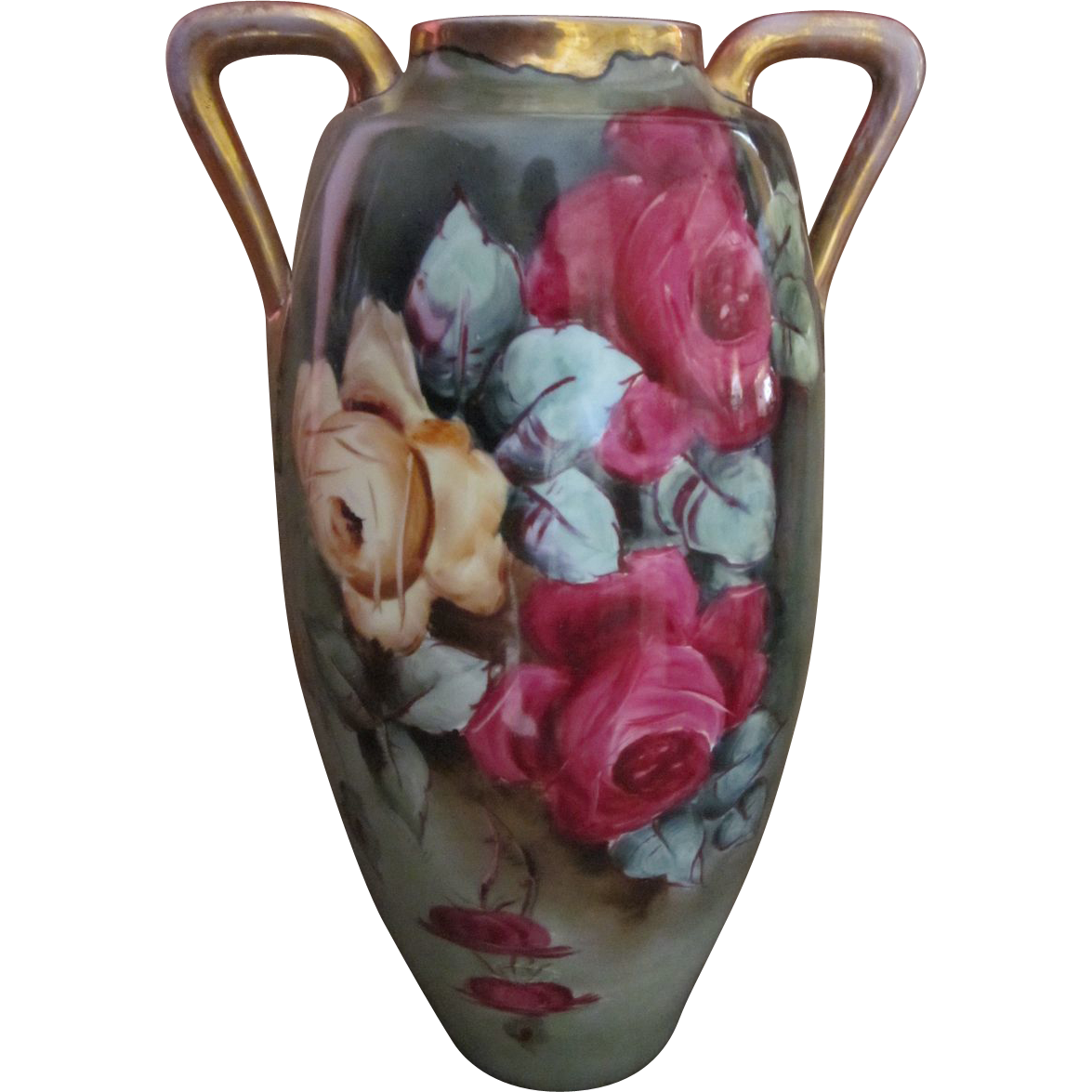 Huge Antique Hand Painted Roses Austria Vase 18""