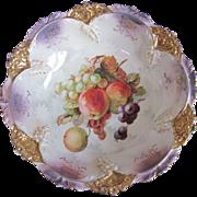 """Old Germany Porcelain Fruits Bowl 11"""""""