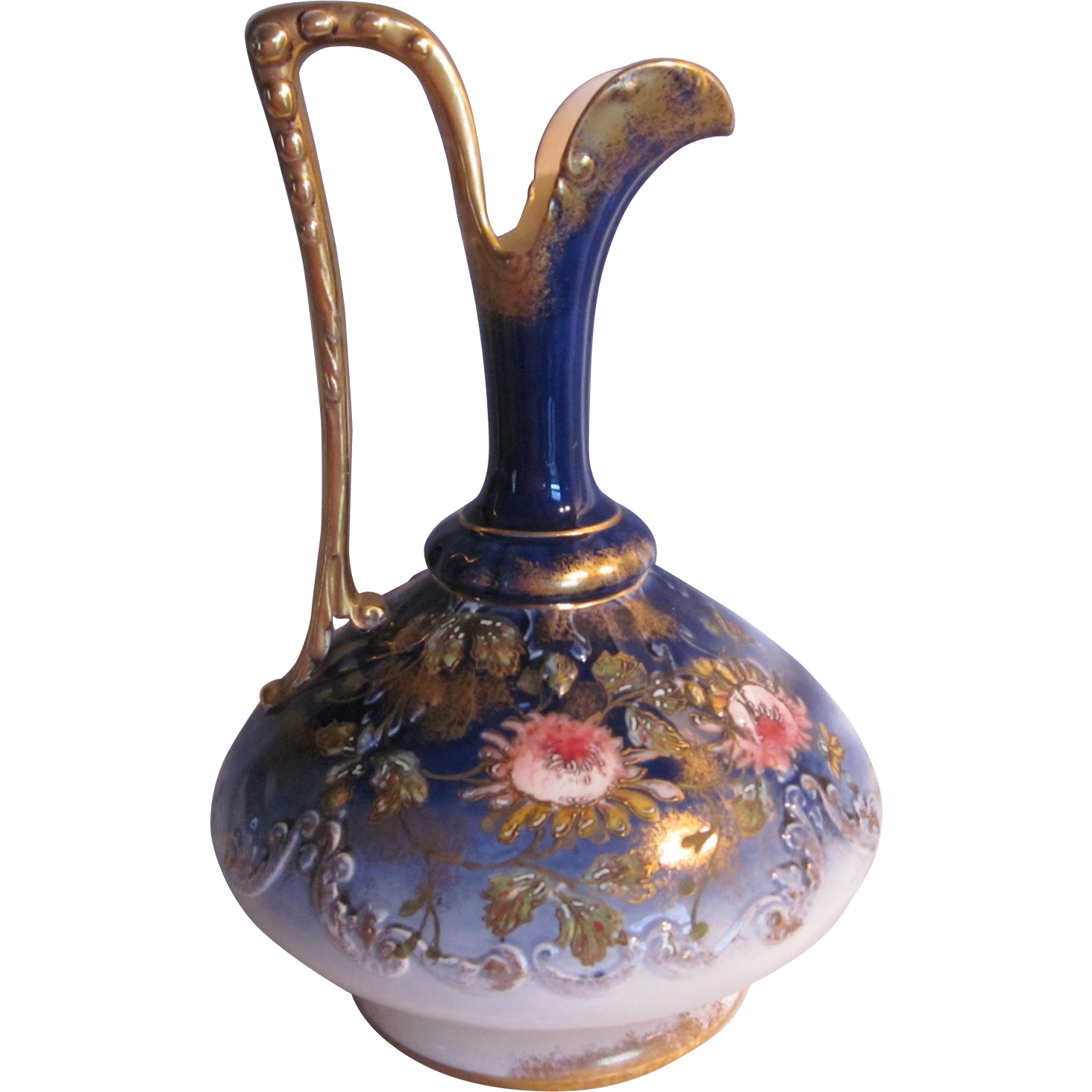 Antique Unmarked Austria Cobalt Ewer