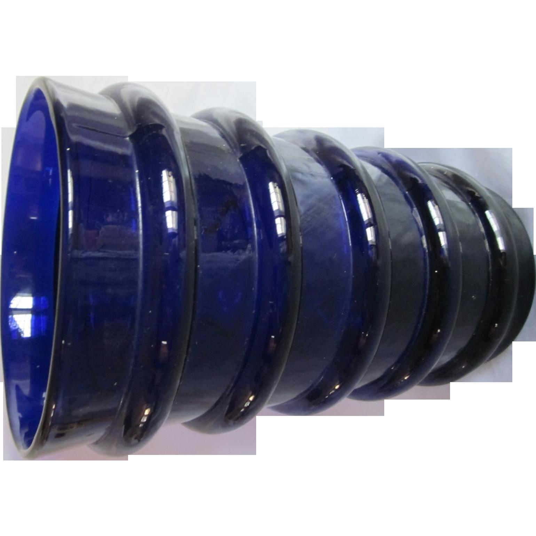 Vintage Mid Century Cobalt Glass Vase