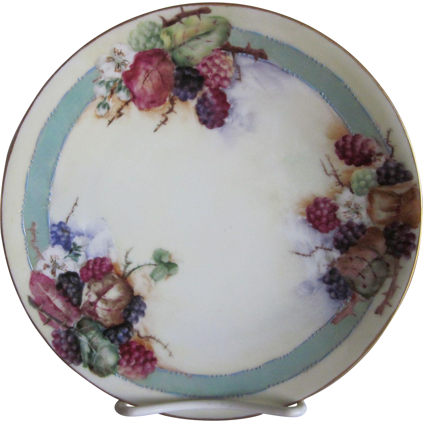 Old Silesia Hand Painted Berries Plate 7.6""