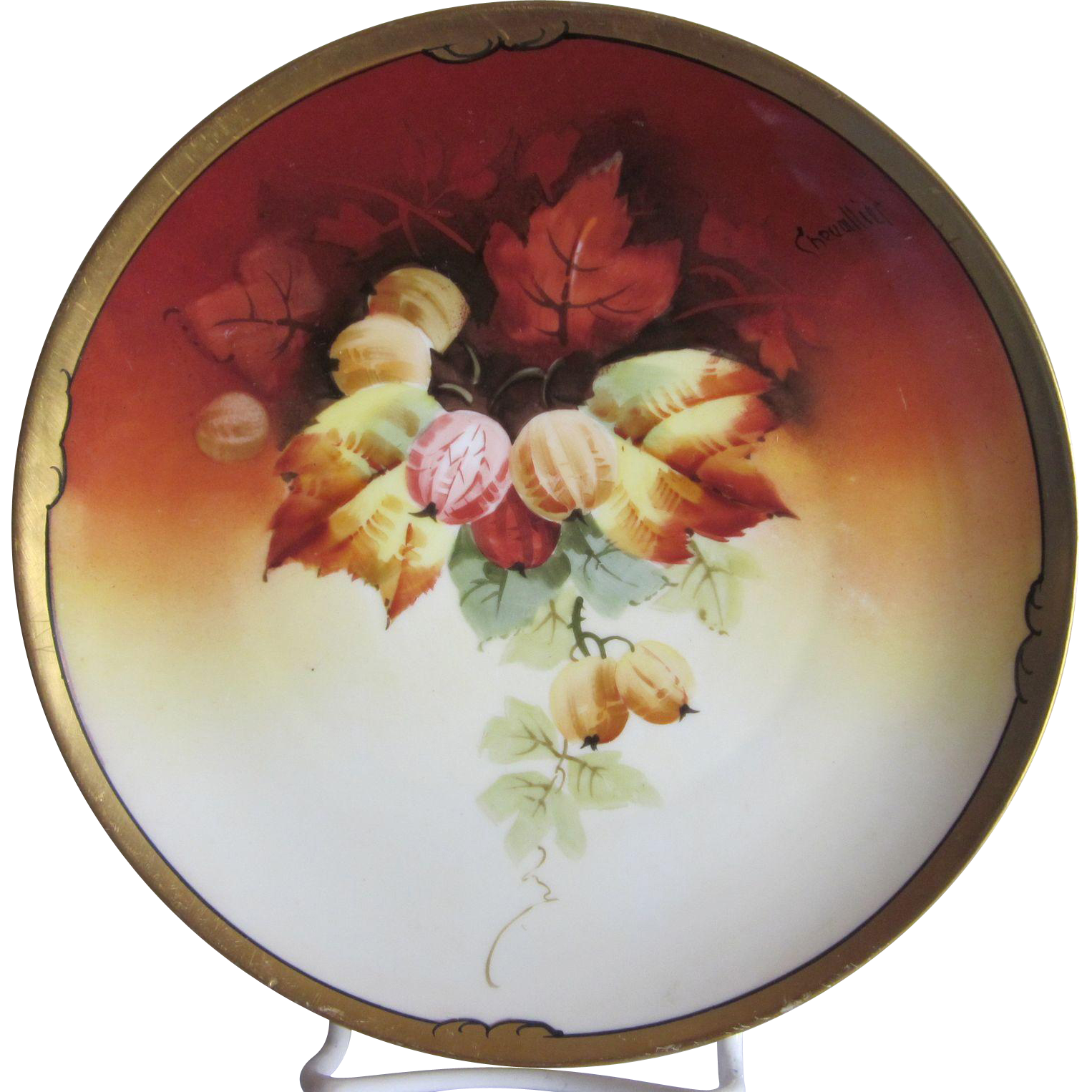 Old Stouffer Studio Hand Painted Gooseberries Plate