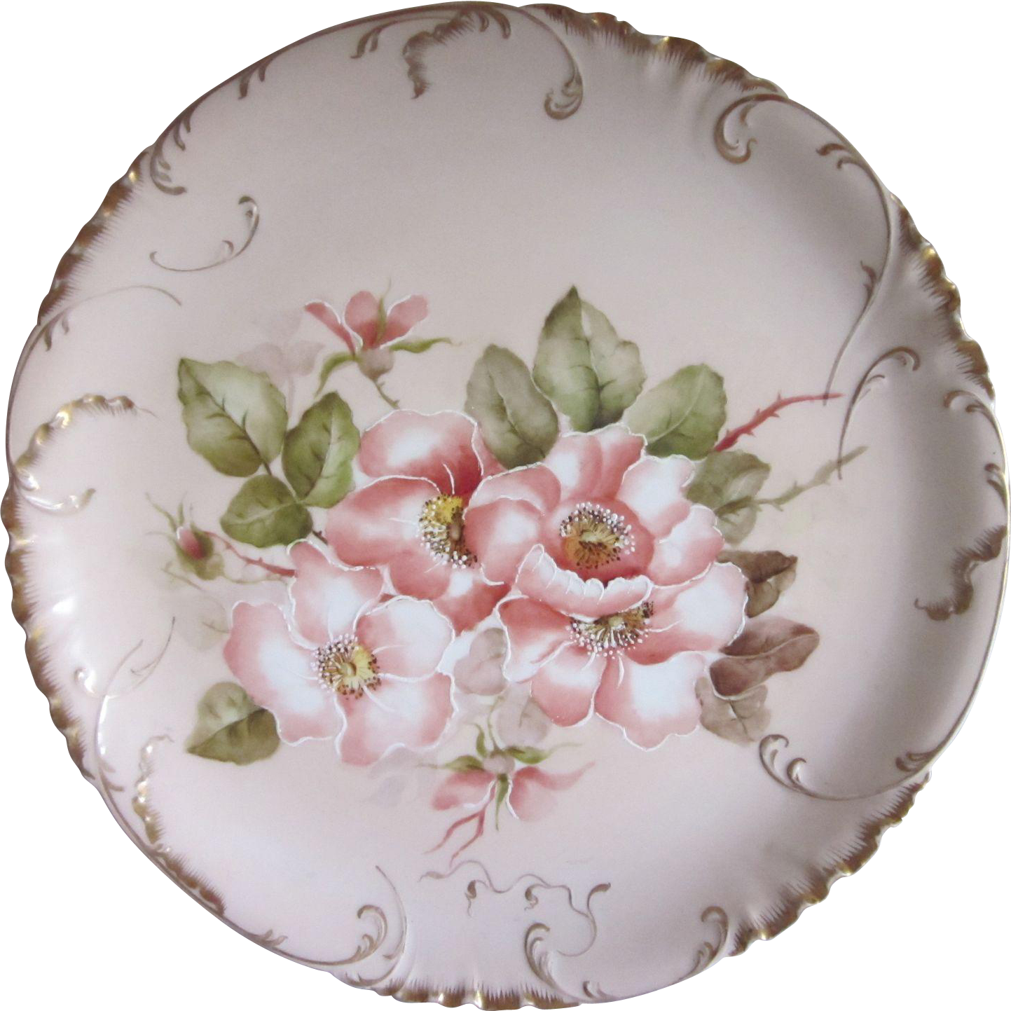 "H. & C.  Limoges Hand Painted Magnolia? 12"" Round Platter"