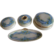 Antique Hand Painted Forget Me Not Dresser Set