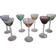 Vintage Venetian Glass Cordials 7 Pc Set
