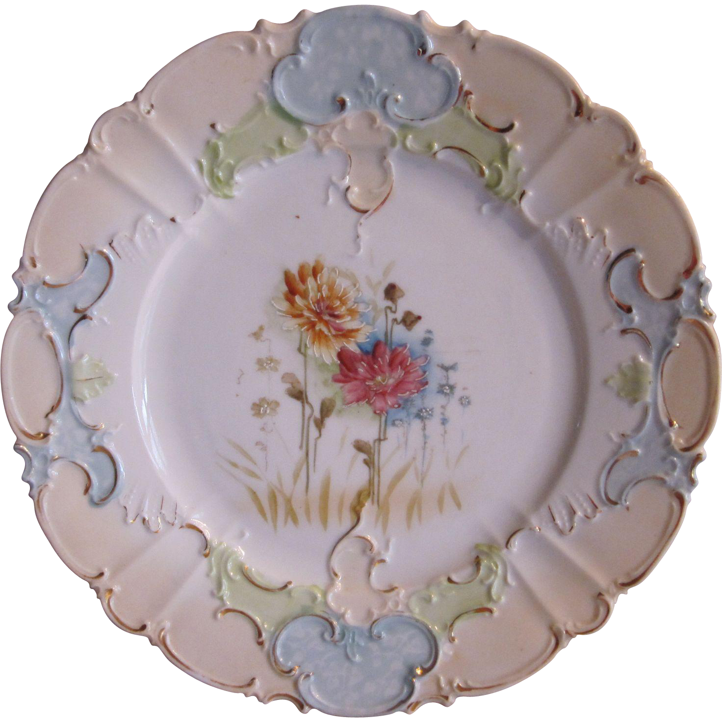 Hand Painted Flowers Unmarked Porcelain Plate