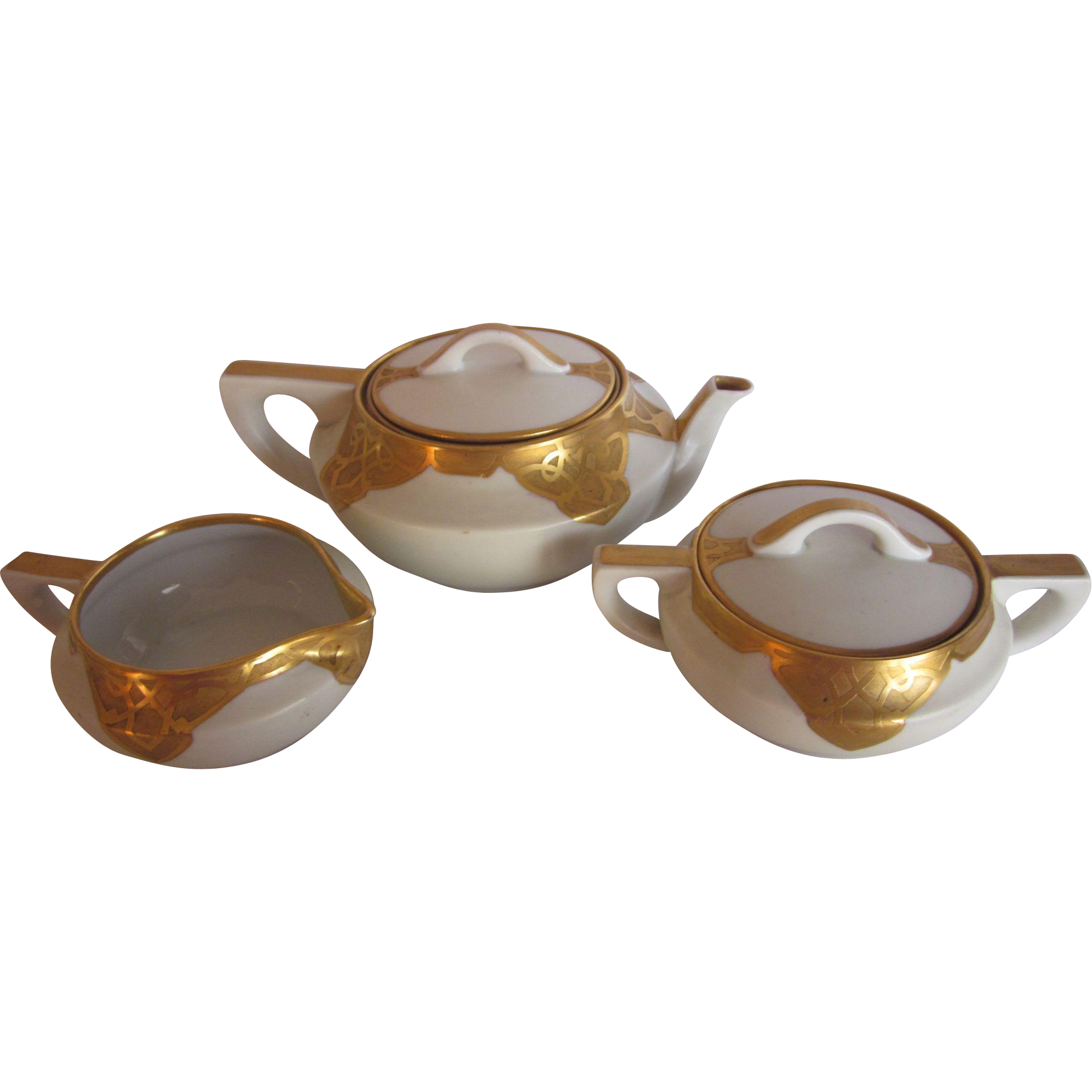 Vintage Encrusted Gold Porcelain Tea Set