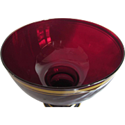 """Vintage Ruby Red Glass Pedestal Bowl 8""""  Tall"""