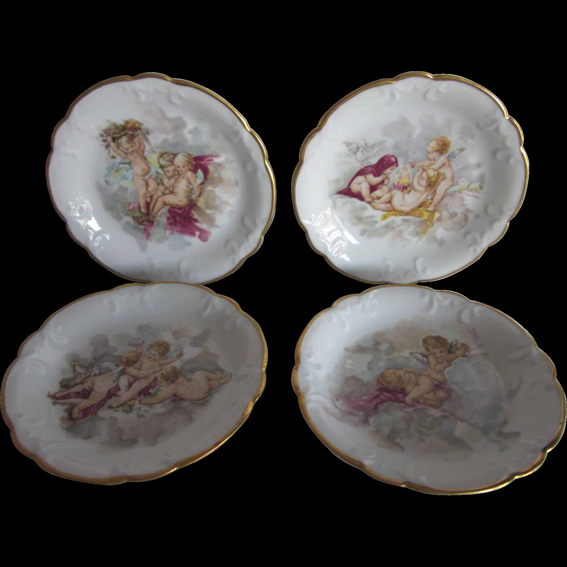 "Vintage Limoges Cherubs Plates 4 PC Set  6"""
